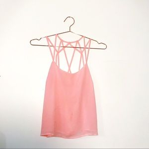 Pink Cage Back Strappy Tank - NWOT